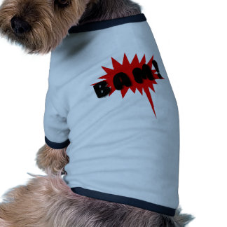 Red and black comics text and burst design BAM! Dog Clothing