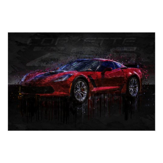 Red and Black Corvette Z06 Poster