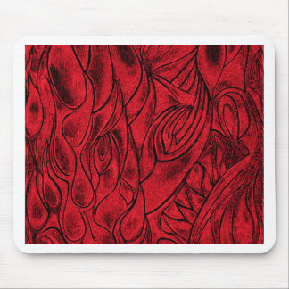 Red and Black Creative Abstract Design from Drawin Mouse Pad