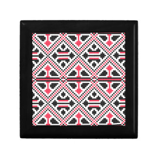 Red and Black cross-stitch Retro Pattern Gift Box