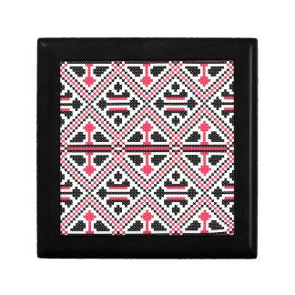 Red and Black cross-stitch Retro Pattern Small Square Gift Box