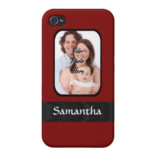 Red and black custom photo iPhone 4/4S case