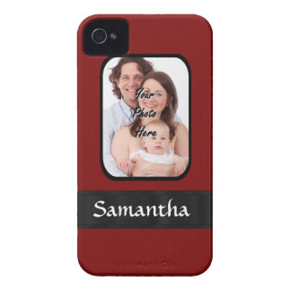 Red and black custom photo iPhone 4 case