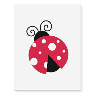 Red and Black Cute Lady Bug Faux Tattoo