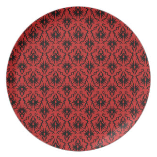 Red and Black Damask Design. Plate