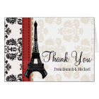 RED AND BLACK DAMASK EIFFEL TOWER THANK YOU CARD