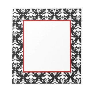 Red and Black Damask Elegant Notepad