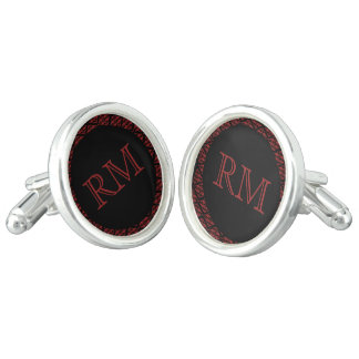 Red and Black Damask Monogram Wedding Cuff Links