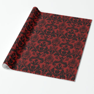 Red and Black Damask Pattern Wrapping Paper
