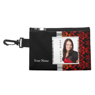 Red and black damask photo template accessories bags