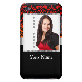 Red and black damask photo template iPod touch Case-Mate case