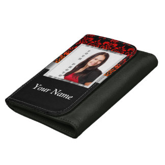 Red and black damask photo template leather wallets