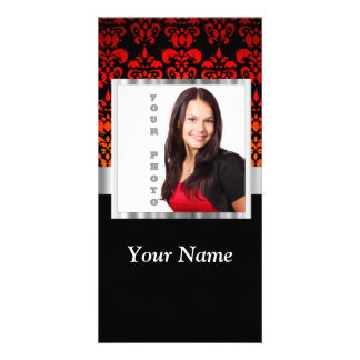 Red and black damask photo template picture card