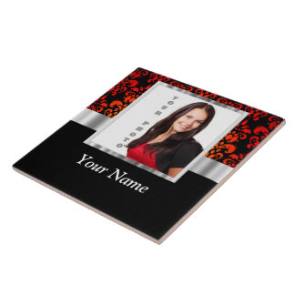 Red and black damask photo template tile