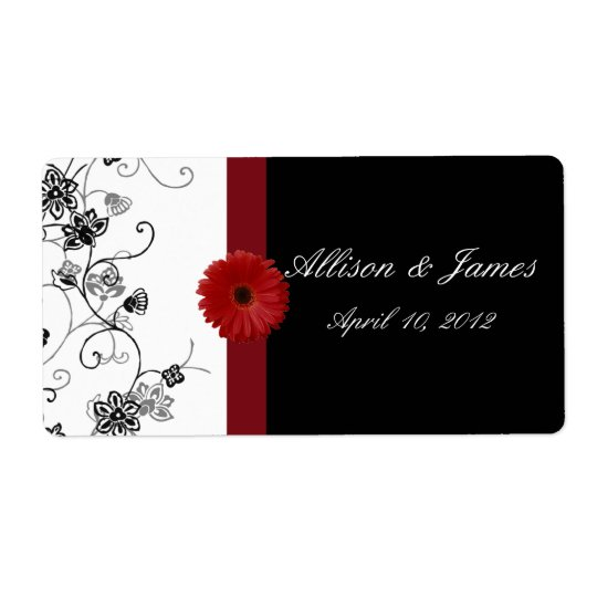 Red and Black Damask Red Gerbera DaisyWine Label Shipping Label