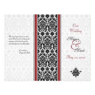Red and Black Damask Wedding Program 21.5 Cm X 28 Cm Flyer