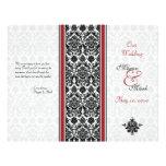 Red and Black Damask Wedding Program Flyer