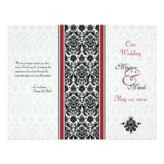 Red and Black Damask Wedding Program Flyer