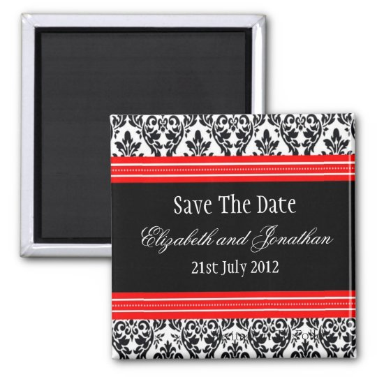 Red and Black Damask Wedding Save The Date Square Magnet
