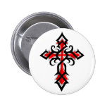 Red and Black Decorative Jesus Christ Cross Buttons