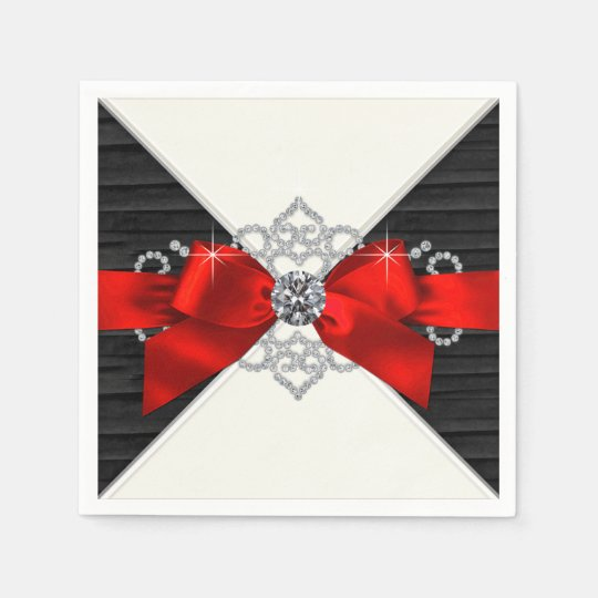 Red and Black Diamond Bow Party Paper Napkin