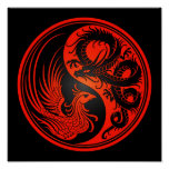Red and Black Dragon Phoenix Yin Yang Poster