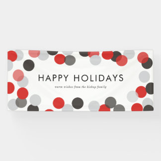 Red and Black Festive Confetti Dots Happy Holidays Banner