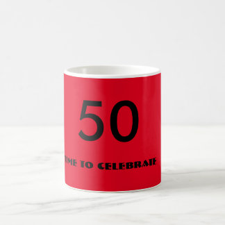 red and black fiftieth birthday mug
