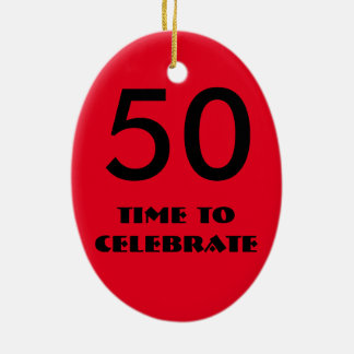 red and black fiftieth birthday ornament