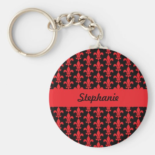 Red and Black Fleur de Lis Pattern Basic Round Button Key Ring