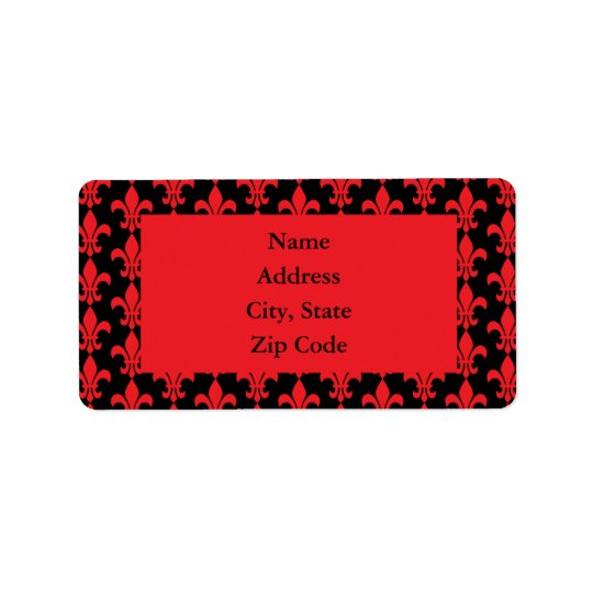 Red and Black Fleur de Lis Pattern Label