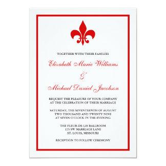 Red and Black Fleur de Lis Wedding Card