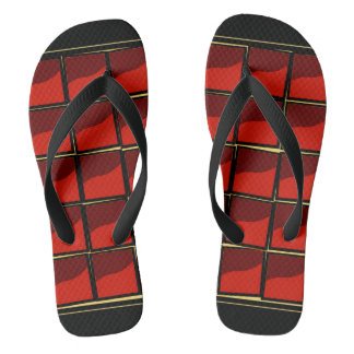 Red and black flip flops