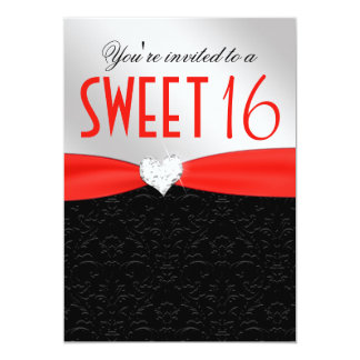 Red and Black Floral Damask Diamond Heart 13 Cm X 18 Cm Invitation Card