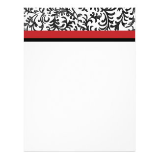 Red and Black Floral Damask Pattern 21.5 Cm X 28 Cm Flyer