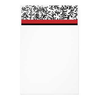 Red and Black Floral Damask Pattern Stationery Paper