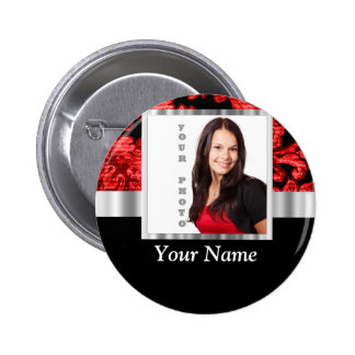 Red and black floral damask template 6 cm round badge