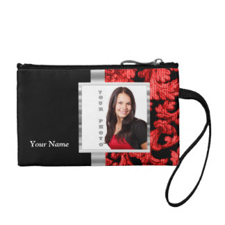 Red and black floral damask template coin purse