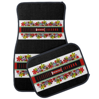 Red and Black Floral Design Set of 4 Car Mats