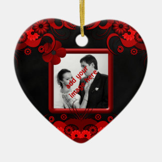 Red and Black Floral Gothic Wedding Heart Ornament