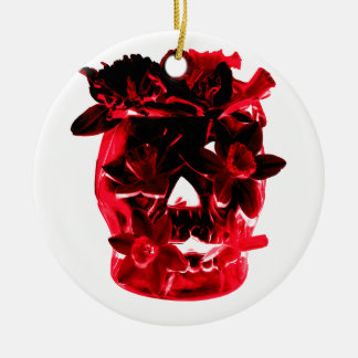 Red and Black Flowers and Skull Christmas Ornament