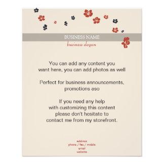 Red and Black Flowers on Beige Elegant Flyer