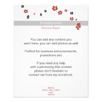 Red and Black Flowers on White Elegant 11.5 Cm X 14 Cm Flyer