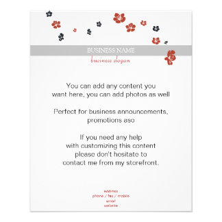 Red and Black Flowers on White Elegant Flyer
