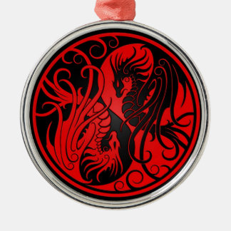 Red and Black Flying Yin Yang Dragons Christmas Ornament