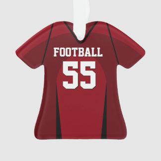 Red and Black Football Jersey Ornament