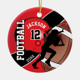 Red and Black Football Player Christmas Ornament