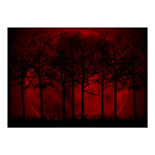 Red and black forest moon giant poster