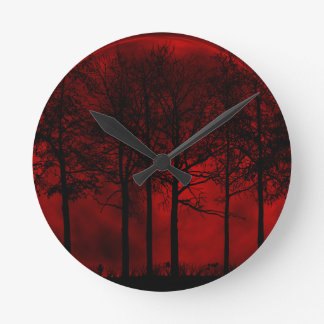 Red and black forest moon round clock