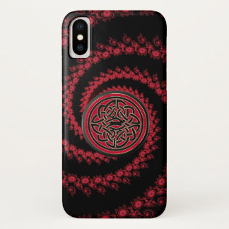Red and Black Fractal with Celtic Knot iPhone X Case